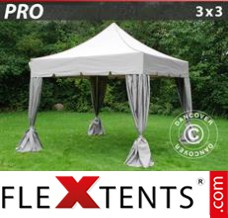 Folding canopy 3x3m White, incl. 4 decorative curtains
