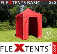 Folding canopy 4x4 m Red, incl. 4 sidewalls