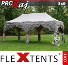 Folding canopy 3x6 m Black, incl. 6 decorative curtains