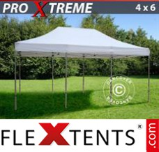 Folding canopy 4x6 m White, incl. 8 sidewalls & decorative